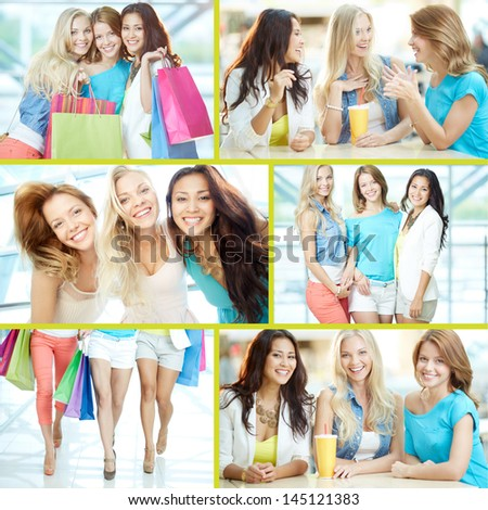 Collage of three happy girls in smart casual after shopping - stock photo