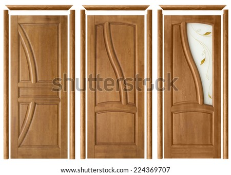 collage of three interior doors with trims on an isolated background  - stock photo