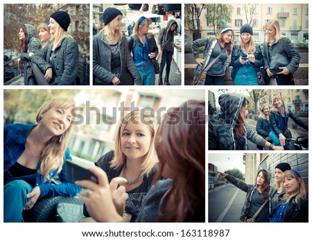 collage of three woman talking and having fun in the city - stock photo