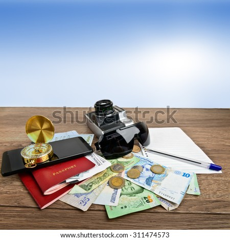 Collage of travel concept with copy space - stock photo