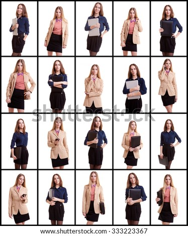 Collage of two business woman on white background. Woman with laptop or folder in collage - stock photo