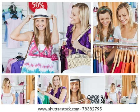 Collage of two smiling women doing shopping - stock photo