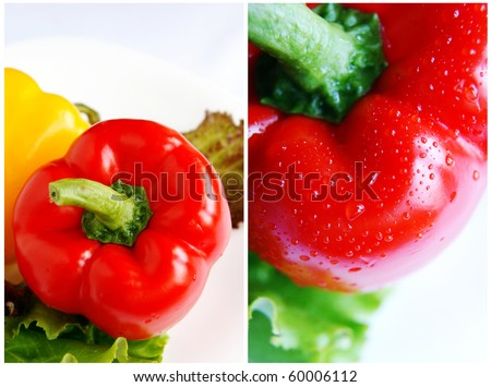 Collage of two vertical images of red bell peppers with water drops, macro lens, closeup - stock photo