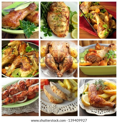 collage of various chicken products - stock photo
