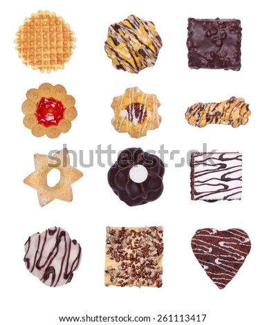 Collage of various cookies. Cookies and cakes on white background. Sweet pastry isolated on white background. Cafeteria menu. Waffles, cakes, shortbread dough. Design cookies. Confectionery business. - stock photo