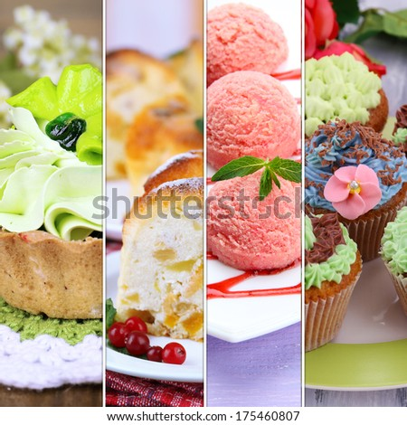Collage of various desserts - stock photo