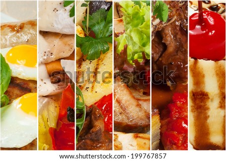 collage of various fast food products . Background - stock photo
