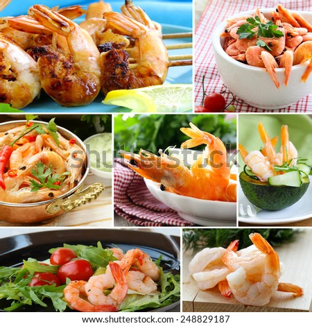 collage of various food shrimp (salad, canapes, skewers) - stock photo