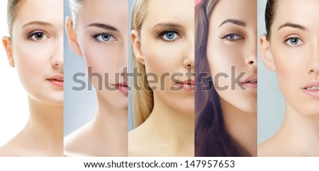 collage of various girls' portraits - stock photo