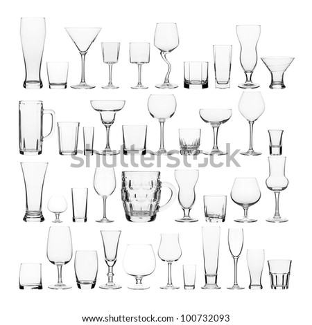 collage of various glasses - stock photo