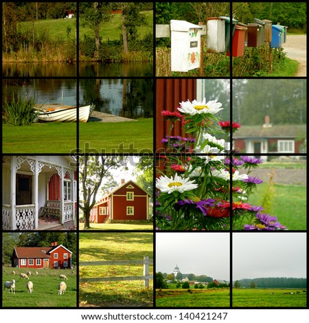 Collage of various images from Sweden - stock photo