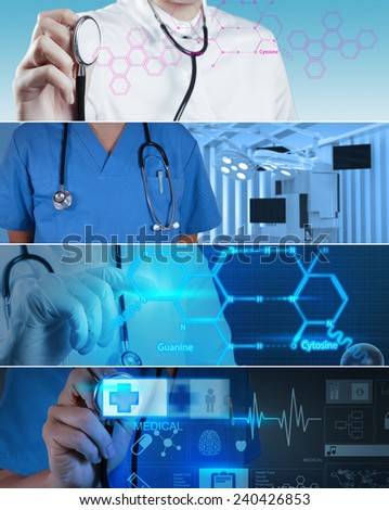 Collage of Various modern medical concept - stock photo