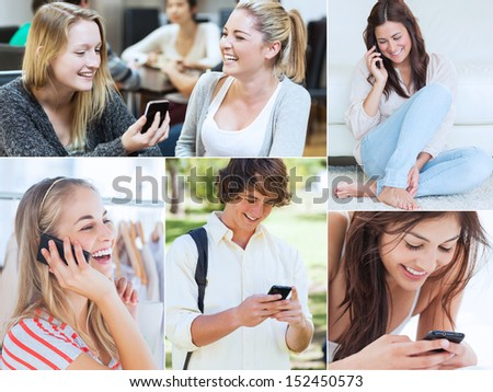 Collage of various people using their mobile phone - stock photo