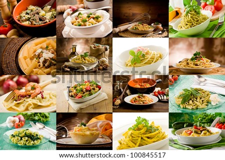 collage of various photo of delicious italian pasta dishes - stock photo