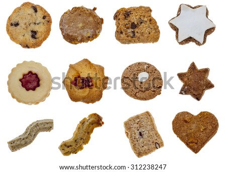 Collage of various types of biscuits isolated against a white background - stock photo