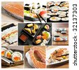 collage of various types of japanese sushi and sashimi - stock photo