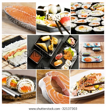 collage of various types of japanese sushi and sashimi - stock photo