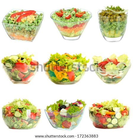 Collage of vegetable salads isolated on white - stock photo