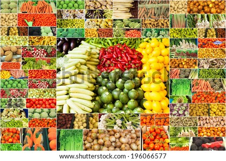 collage of vegetables - stock photo