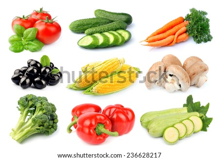 Collage of vegetables on white background. - stock photo