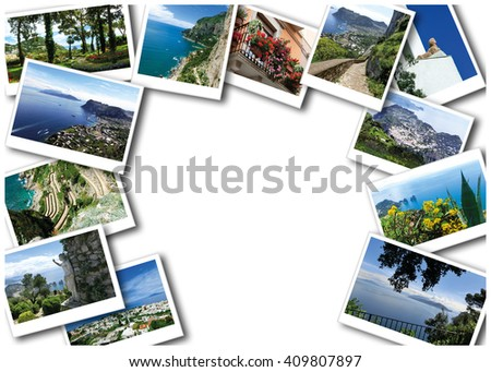 Collage of views of Capri island, Italy. Capri is an island in the Tyrrhenian Sea near Naples.  - stock photo