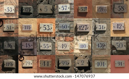 Collage of weathered house numbers in Siena, Italy - stock photo