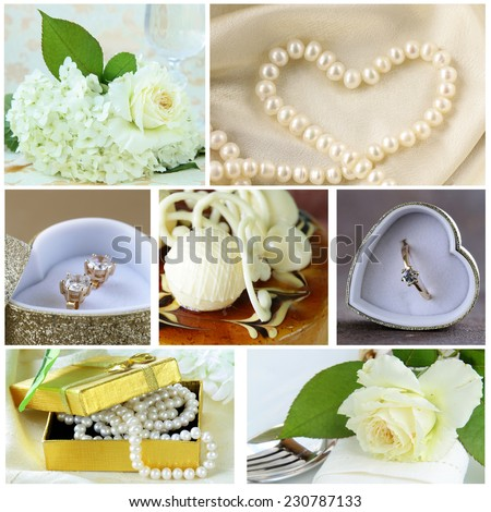 collage of wedding accessories (ring, cake, bouquet of flowers, earrings, pearl) - stock photo