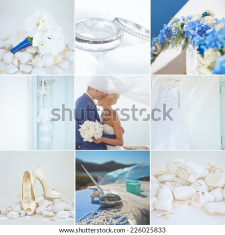 Collage of wedding details of white and blue colors - stock photo