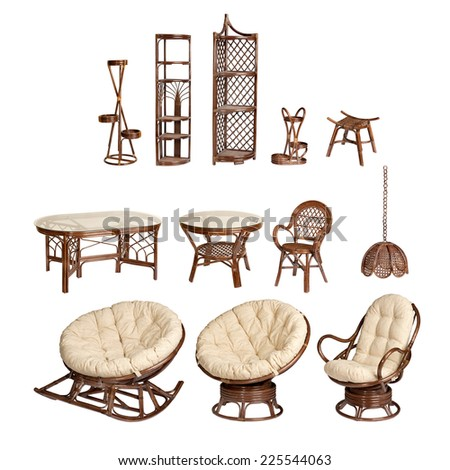 collage of wicker furniture on an isolated white background - stock photo