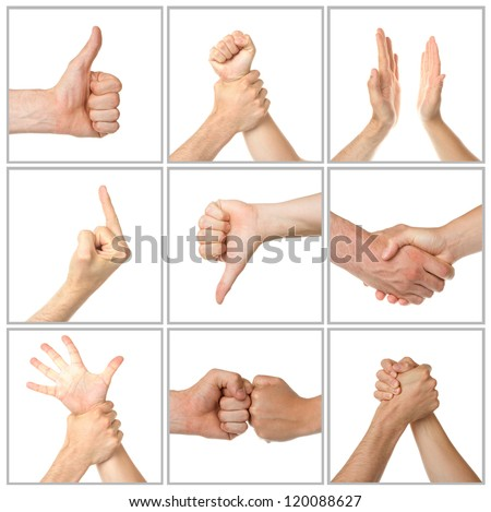 Collage of woman and man hands on white backgrounds - stock photo