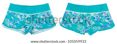 collage of women's beach shorts with blue pattern isolated on white background - stock photo