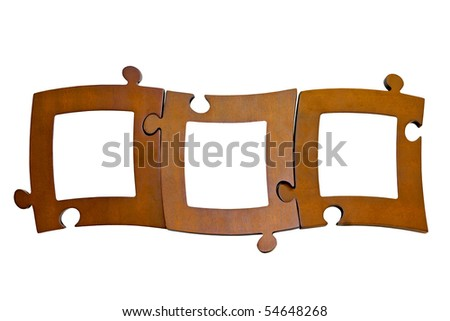Collage of wooden picture frames with clipping path - stock photo