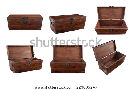 Collage of wooden walnut chest open, close, frontal view and high angle view. - stock photo