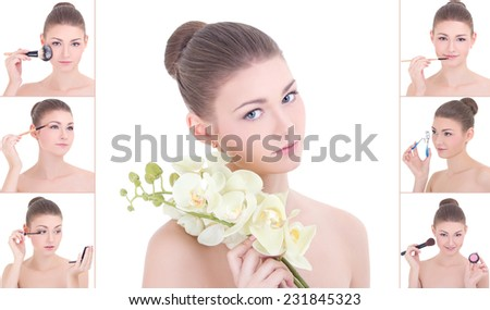 collage of young attractive woman applying make up over white - stock photo