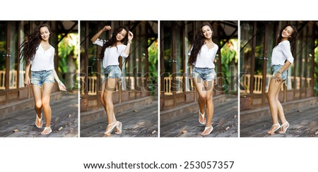 collage of Young beauty woman enjoying her comfortable terrace. dancing - stock photo