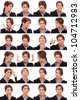 Collage of young business  woman's  different facial expressions - stock photo