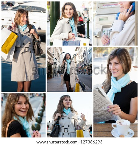 Collage of young happy woman while shopping - stock photo