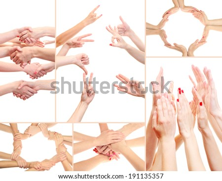 Collage of young people's hands - stock photo