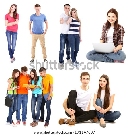 Collage of young students isolated on white - stock photo
