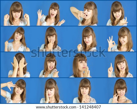Collage of young woman different facial expressions - stock photo