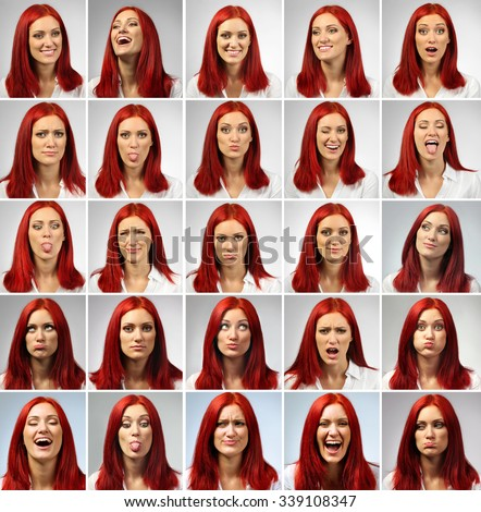 Collage of young woman expressing different emotions - stock photo