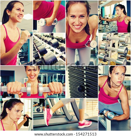 collage of young woman in gym class - stock photo