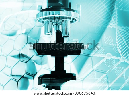 Collage on scientific topics. Research scientists in the microscope  with Hexagonal cell - stock photo