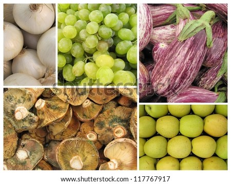 Collage or mosaic autumn fruits and vegetables. - stock photo