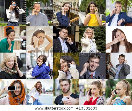 Collage People Calling By Phone - stock photo