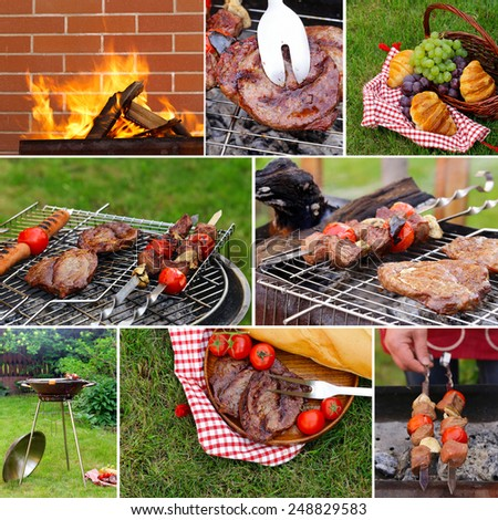 collage picnic on green grass and beef steak grilled on a barbecue outdoors - stock photo