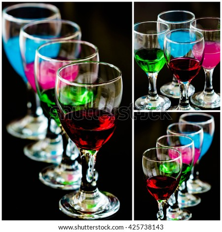 collage picture of cocktail into glass on black background - stock photo
