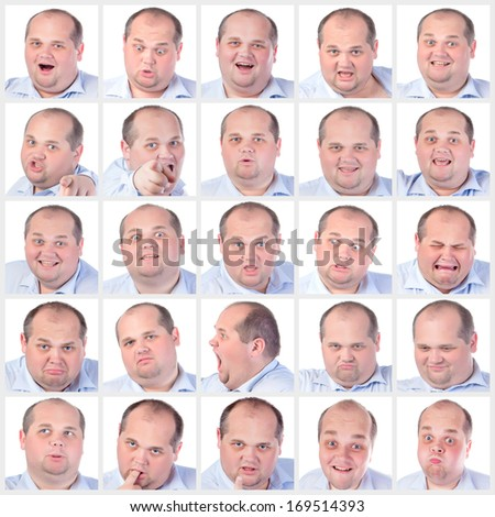 Collage portrait fat man with difference emotions, on white background - stock photo