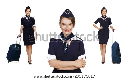 Collage, Portrait in full growth stewardess holding suitcase isolated on white background - stock photo