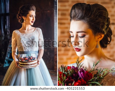Collage, portrait of a beautiful young bride with wedding cake and detail of the bouquet. Bridal bouquet. Wedding cake with berries. - stock photo
